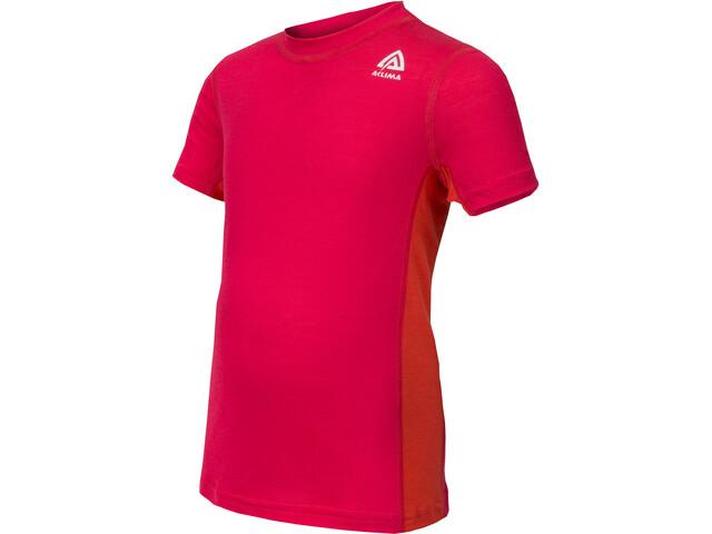 Aclima Lightwool T-Shirt Kinder raspberry/poinciana